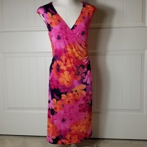 Connected Apparel Hibiscus Floral Sheath Dress 10